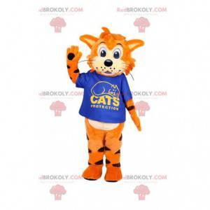Mascote gato amigável com sua camisa azul royal - Redbrokoly.com