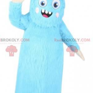 Mascot klein blauw monster met een origineel kapsel -
