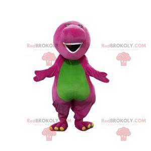 Mascote de dinossauro roxo e verde com um grande focinho -