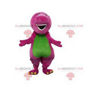 Purple and green dinosaur mascot with a big muzzle -