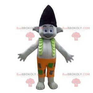 Graues Elfmaskottchen mit einer lustigen Frisur - Redbrokoly.com
