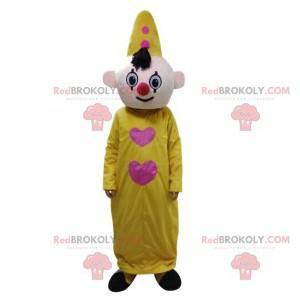 Mascota payaso con su traje amarillo y sombrero. -