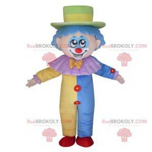 Zeer schattige clown mascotte met een pastelkostuum -