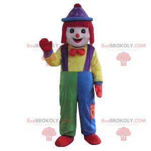 Clown mascotte met een lappendeken kostuum - Redbrokoly.com