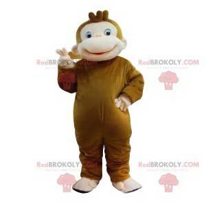 Braunes Affenmaskottchen mit einem großen Lächeln -