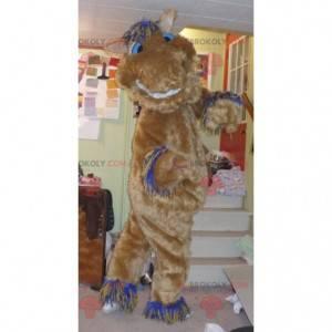 Mascote cavalo marrom engraçado e peludo - Redbrokoly.com