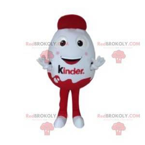 Sehr lächelndes rotes und weißes Schokoladenei-Maskottchen -