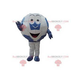 Maskot bílý a modrý fotbalový míč - Redbrokoly.com