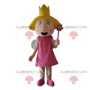 Mascota de hadas con un vestido rosa y una corona. -