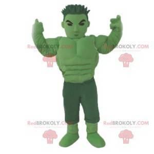 Grünes Manga-Krieger-Maskottchen. Grünes Kriegerkostüm -