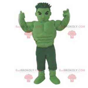 Green manga warrior mascot. Green warrior costume -