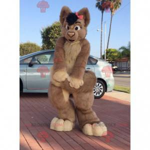Brown hairy female cat mascot - Redbrokoly.com