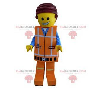 Playmobil mascot in orange work clothes - Redbrokoly.com
