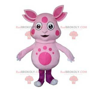 Pink alien mascot with four ears - Redbrokoly.com