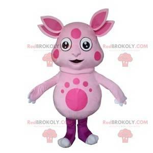 Rosa außerirdisches Maskottchen mit vier Ohren - Redbrokoly.com