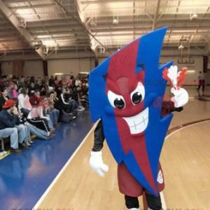 Veldig uttrykksfull rød og blå lynformet maskot - Redbrokoly.com