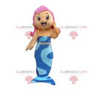 Havfrue maskot med rosa hår. Havfrue-kostyme - Redbrokoly.com