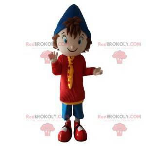 Kleine jongensmascotte met zijn marineblauwe puntige hoed -