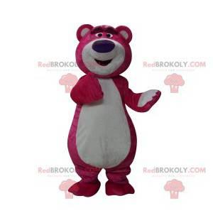 Maskot fuchsie medvěd s velkou fialovou tlamou - Redbrokoly.com