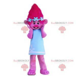 Różowa maskotka elfa z ładną niebieską sukienką - Redbrokoly.com
