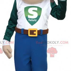 Mascot man in jeans and t-shirt - Redbrokoly.com