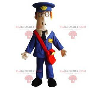 Maskotmann med blå dress og rød pose - Redbrokoly.com