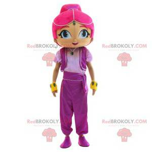 Orientalna dziewczyna maskotka z pięknymi różowymi włosami -