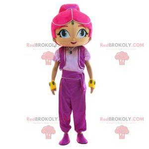Orientalsk maskot med hendes smukke lyserøde hår -