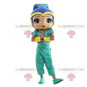Oriental girl mascot with her beautiful blue hair -