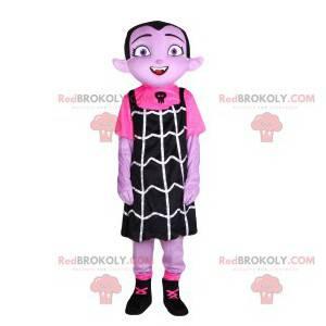 Maskottchen kleines Vampir-Mädchen mit einem schwarzen Kleid -