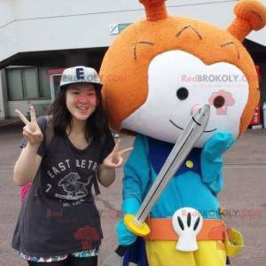 Mascota de caballero muñeco de nieve naranja y blanco -