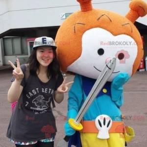 Mascote do cavaleiro boneco de neve laranja e branco -