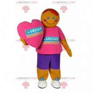 Mascota de muñeco de nieve en ropa deportiva colorida -