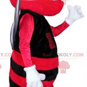 Mascote de abelha vermelha e preta. Fantasia de abelha -