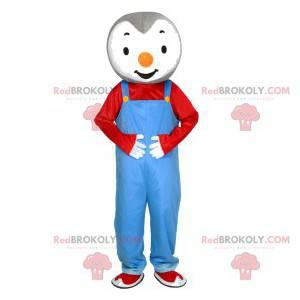 Pequeno mascote de pinguim com macacão azul - Redbrokoly.com