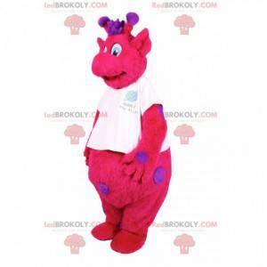 Mascote girafa fúcsia com pontos roxos. Fantasia de girafa -