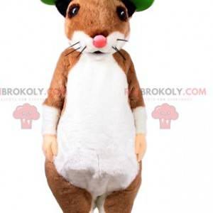 Mascot ratón beige y blanco con un sombrero verde -