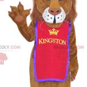 Lion maskot med en vakker lilla krone - Redbrokoly.com