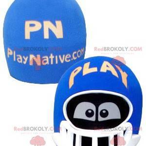 Blaues und weißes Helmkopfmaskottchen mit den Augen -