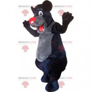 Černý medvěd maskot s červenou tlamou. Kostým černého medvěda -