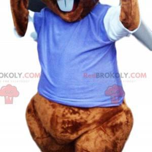 Mascotte castoro con una maglia blu. Costume da castoro -