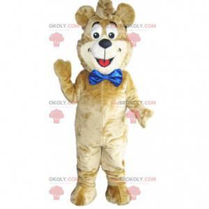 Maskot béžový medvěd s velkou modrou mašlí. Medvědí kostým -
