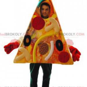 Mascote de pizza gourmet de calabresa e azeitonas. -