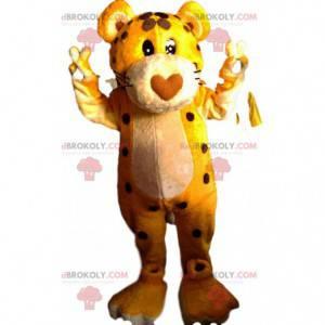 Leopardenmaskottchen mit seiner herzförmigen Schnauze -