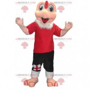 Truthahnmaskottchen in roter Sportbekleidung. Truthahnkostüm -