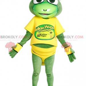 Mascota saltamontes en equipo de carreras amarillo -