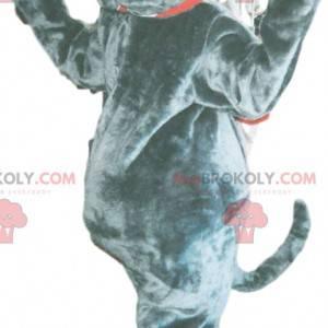 Graues Bulldoggenmaskottchen mit riesigen Zähnen -