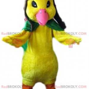 Mascota de pollito amarillo grande en traje de aviador -