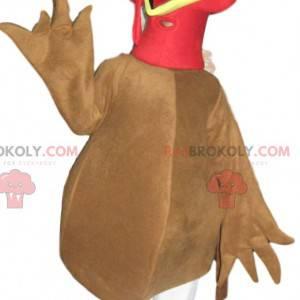 Beige kalkoen mascotte met een bruine hoed - Redbrokoly.com