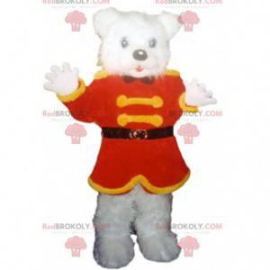 Eisbärenmaskottchen mit roter und gelber Jacke - Redbrokoly.com